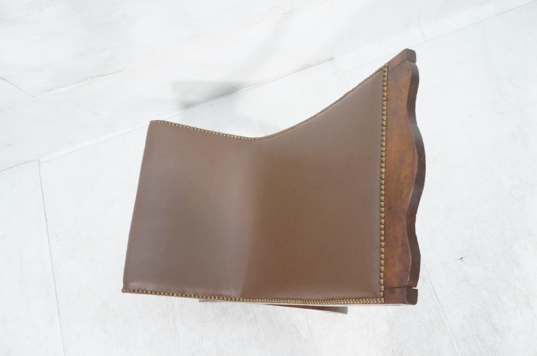 CLARA PORSET Butaque Brown Leather Lounge Chair. - 6