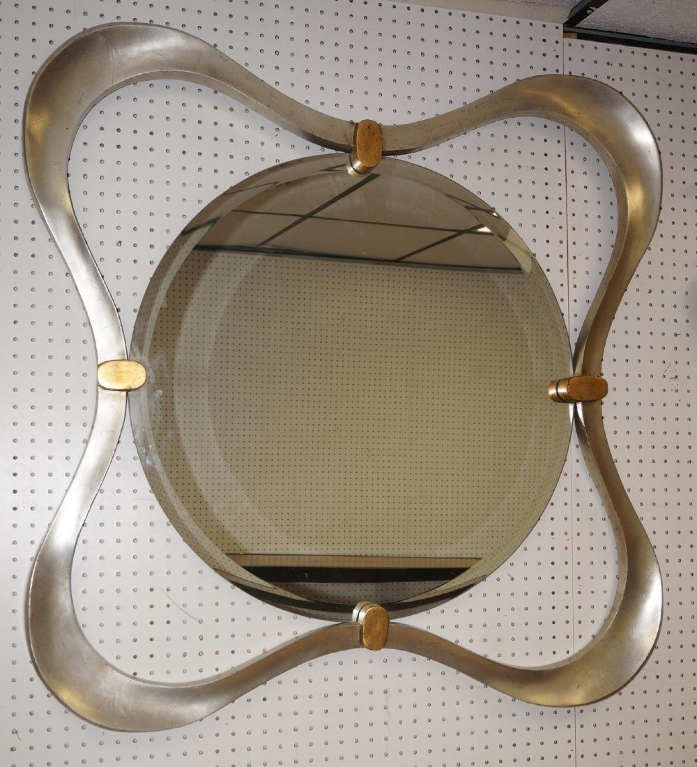 Modernist Silver Leaf Wall Mirror. Curved square