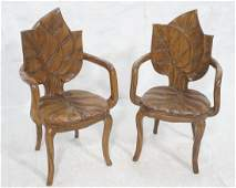 Pr Carved Wood Leaf Form Arm Chairs.