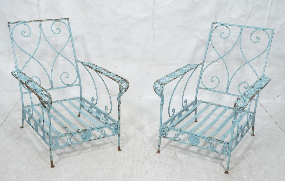 Pr Blue Painted Outdoor Iron Low Lounge Chairs. G