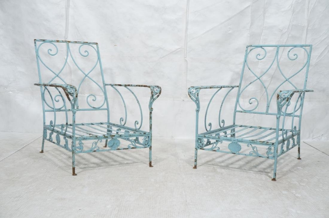 Pr Blue Painted Outdoor Iron Low Lounge Chairs. G - 2