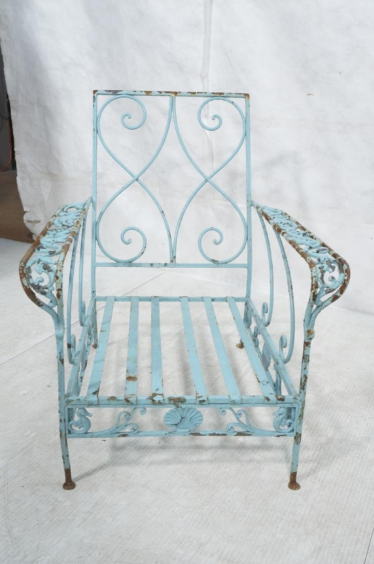 Pr Blue Painted Outdoor Iron Low Lounge Chairs. G - 3