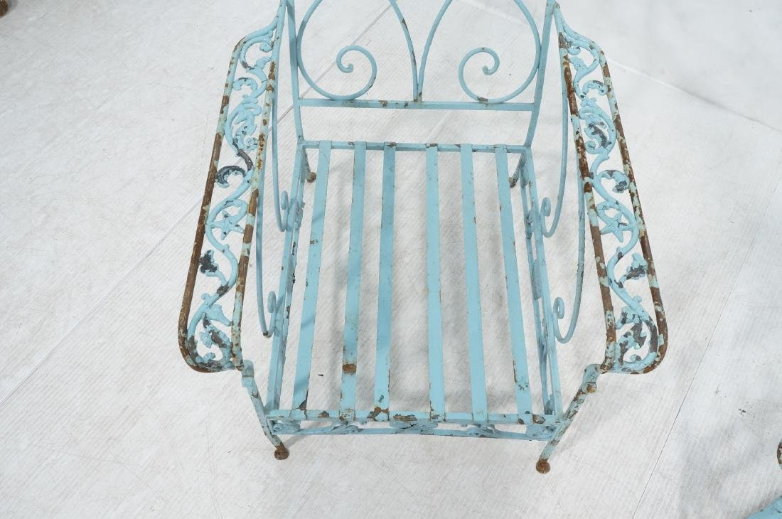 Pr Blue Painted Outdoor Iron Low Lounge Chairs. G - 4