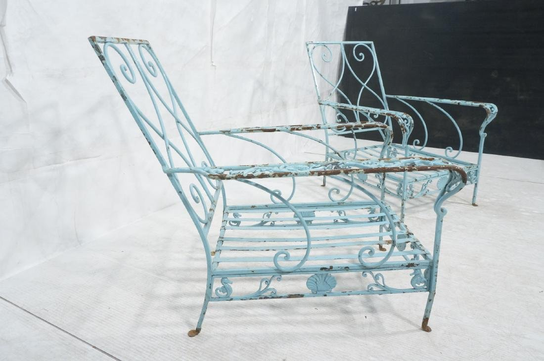 Pr Blue Painted Outdoor Iron Low Lounge Chairs. G - 6