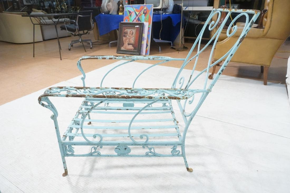 Pr Blue Painted Outdoor Iron Low Lounge Chairs. G - 8