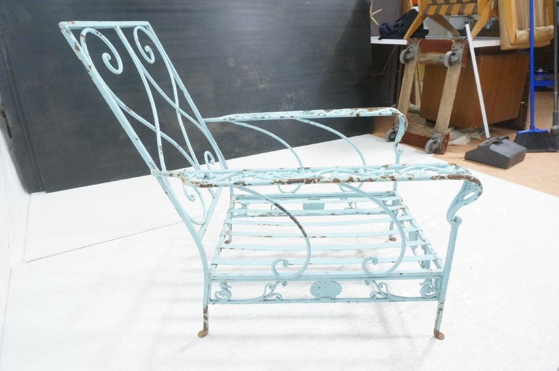 Pr Blue Painted Outdoor Iron Low Lounge Chairs. G - 9