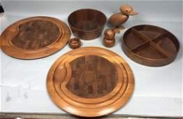 6pc Danish Modern Teak Bowls and Figure Lot. Pepp