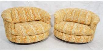 Pr SELIG Round Swivel Lounge Chairs Orange yello