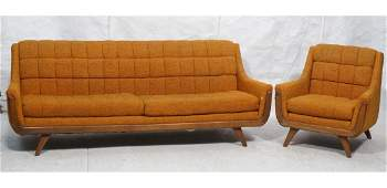 2pc ADRIAN PEARSALL Modernist Sofa Lounge Chair.