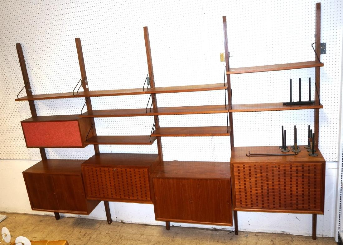 Danish Modern Teak Cabinet Shelf Wall Unit. 5 upr
