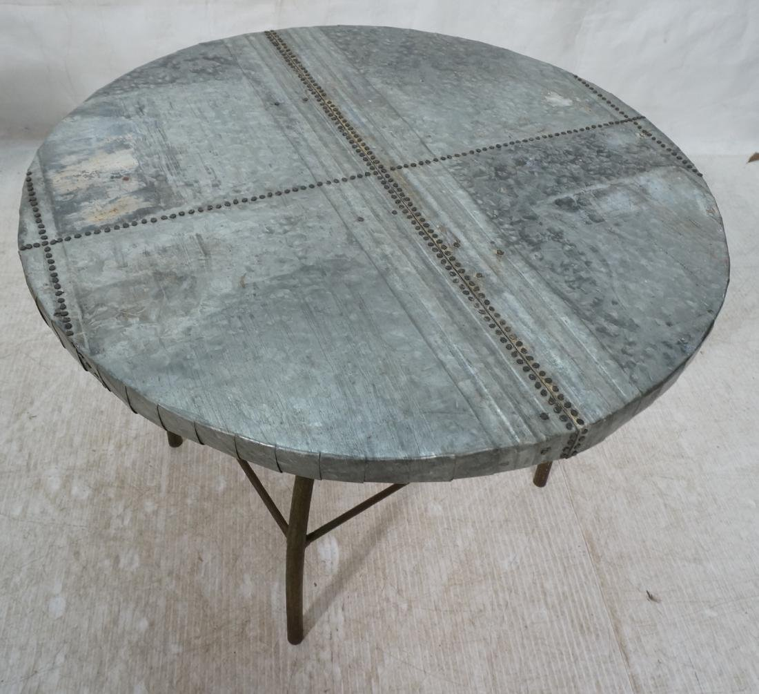 Industrial Round Zinc Top Occasional Table. Swive