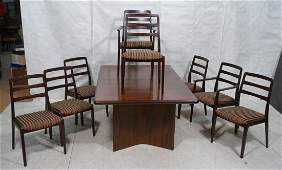 9 pc Rosewood Dining Set. Large rosewood table an