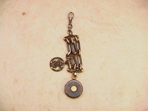 1: Antique 900 Silver Niello Watch Fob Locket.   Probab