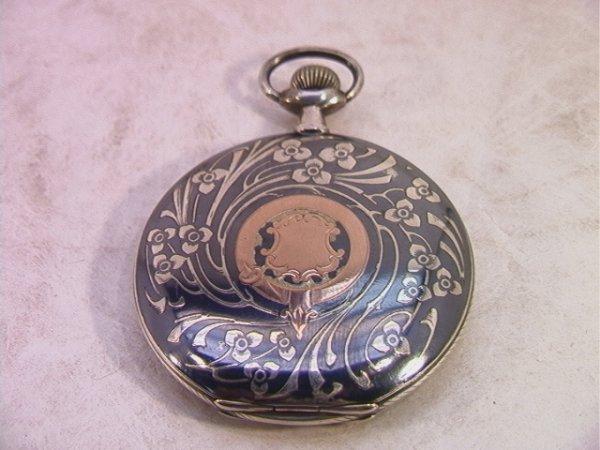 2: 800 Silver French Nouveau NIELLO GOLD Pocket Watch.