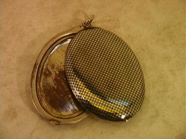 3: ANTIQUE Silver NIELLO Decorative Locket Pendant. Lar