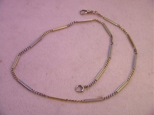 8: 14K white and Yellow Gold Pocket Watch Chain.  Fancy