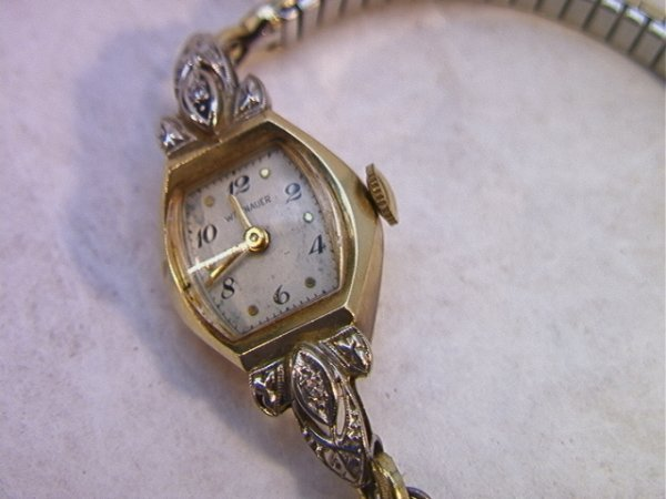 9: 14K Gold Ladies Wittnauer Watch with Diamonds.  Band