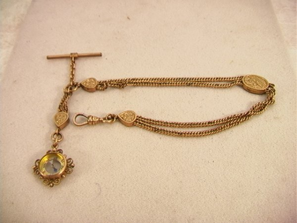 12: JGC Victorian Slide Chain Watch Fob with Compass.