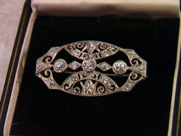 14: Antique Diamond and Platinum Brooch Pin Filigree Se