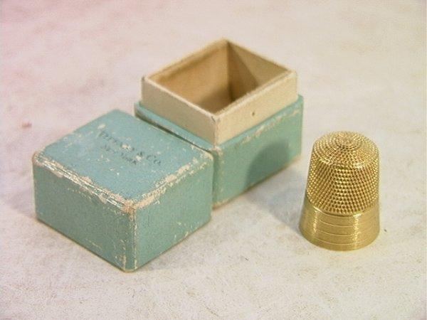 15: 14K Gold Thimble in Tiffany and Co  Thimble Box.  T
