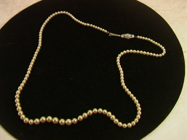 16: Graduated Pearl Necklace with Diamond 14K Clasp.  L