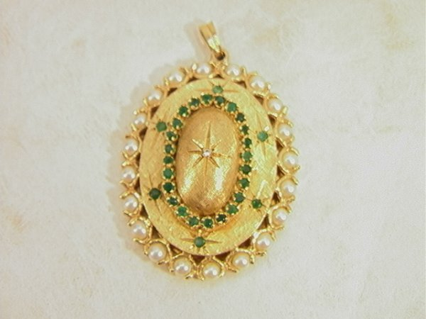 20: 14K Gold Emerald, Diamond, Pearl Locket Pendent.  U