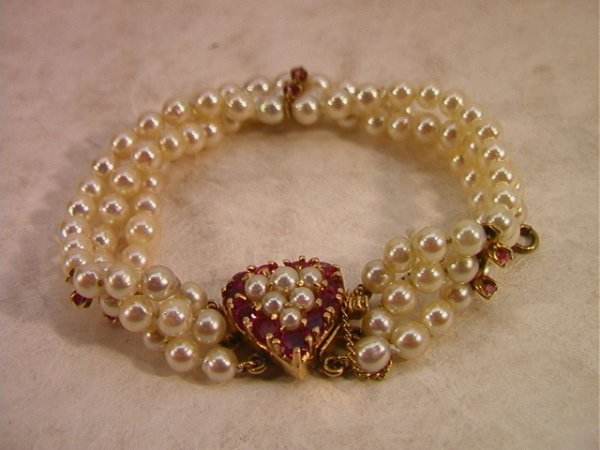 21: 14K Triple Stand Pearl Bracelet with Ruby and Pearl