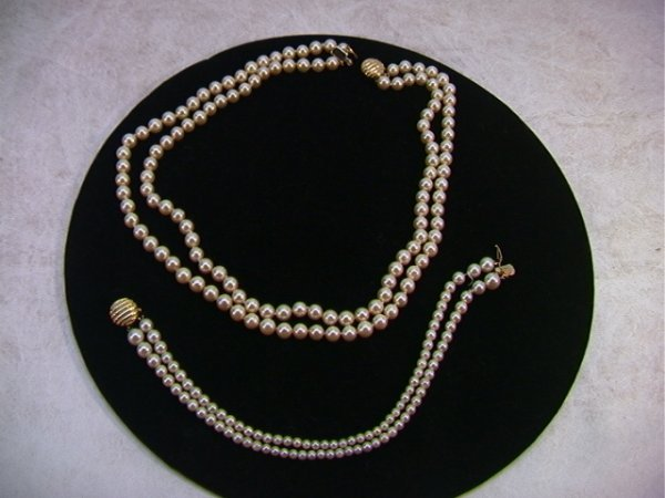 23: 14K Gold and Pearl Necklace and Bracelet.  Both dou