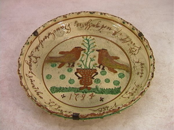 101: Antique 1794 Slip Decorated Red Ware Pie Plate.  D