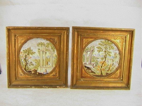 125: Pr ITALIAN FAIENCE Landscape PLATES Framed. Intric