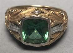 SEVEN FINGERS 18K Gold Tourmaline Diamond Ring.