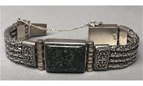 Sterling Silver Artisan Bracelet. Mottled jasper