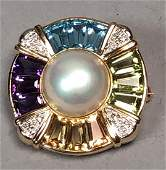 14K Gold Gemstone Pearl Pin Pendant. Center mabe