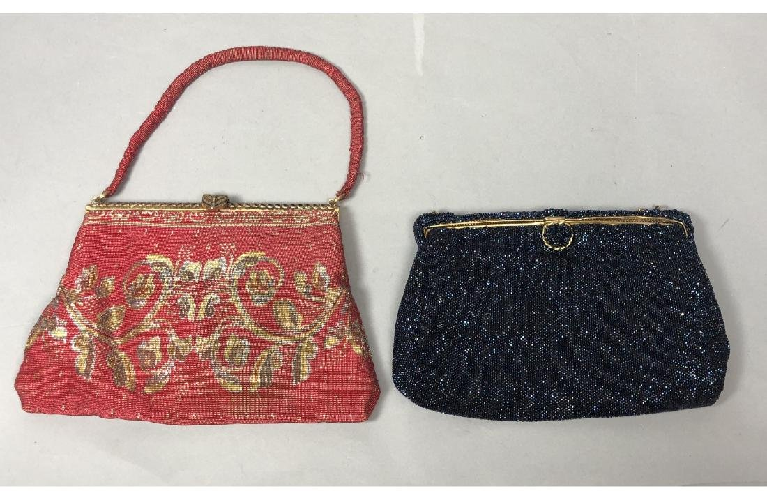 2 Vintage Seed Bead Evening Bags Purses. French s