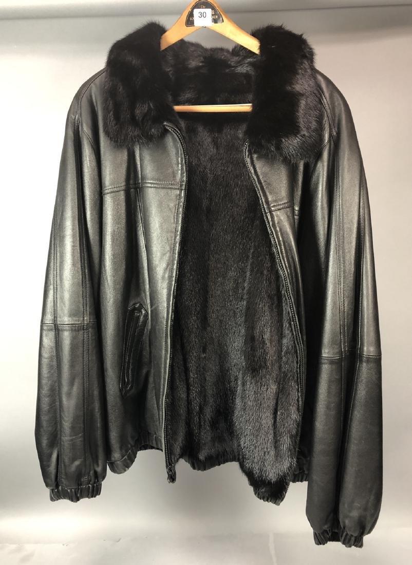 Black Leather Fur Reversible Mens Bomber Jacket.