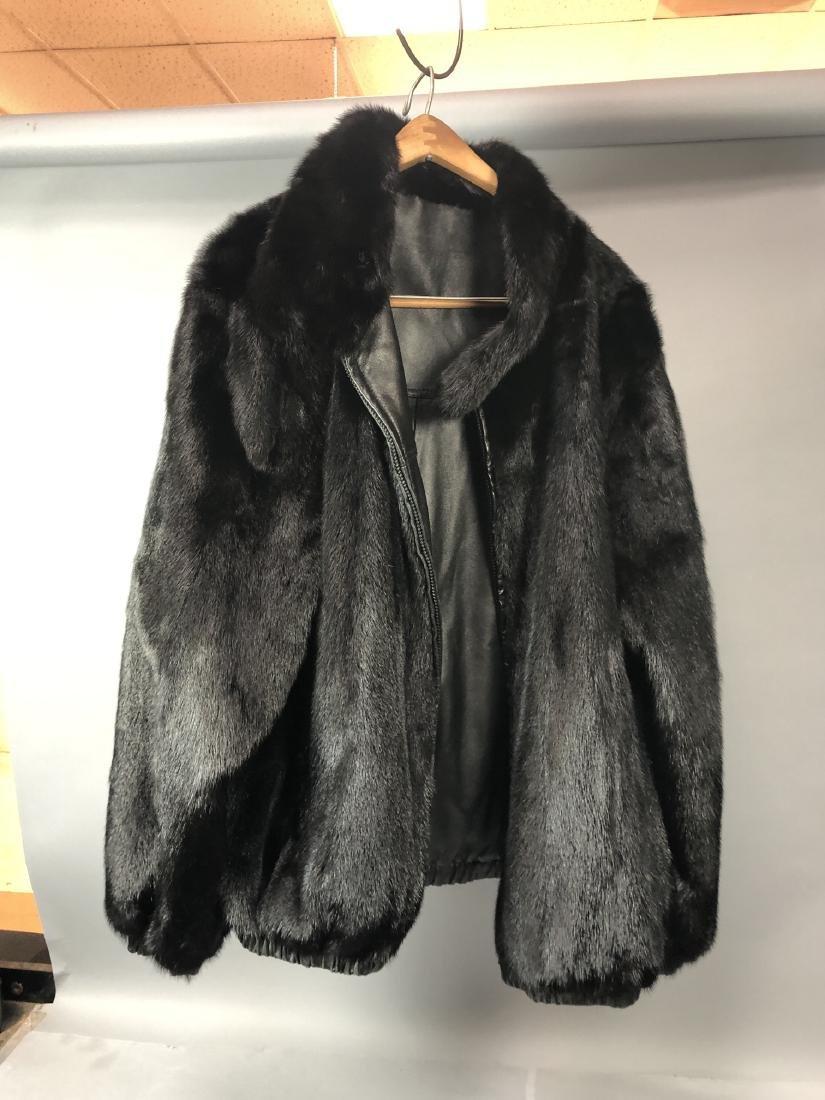 Black Leather Fur Reversible Mens Bomber Jacket. - 2