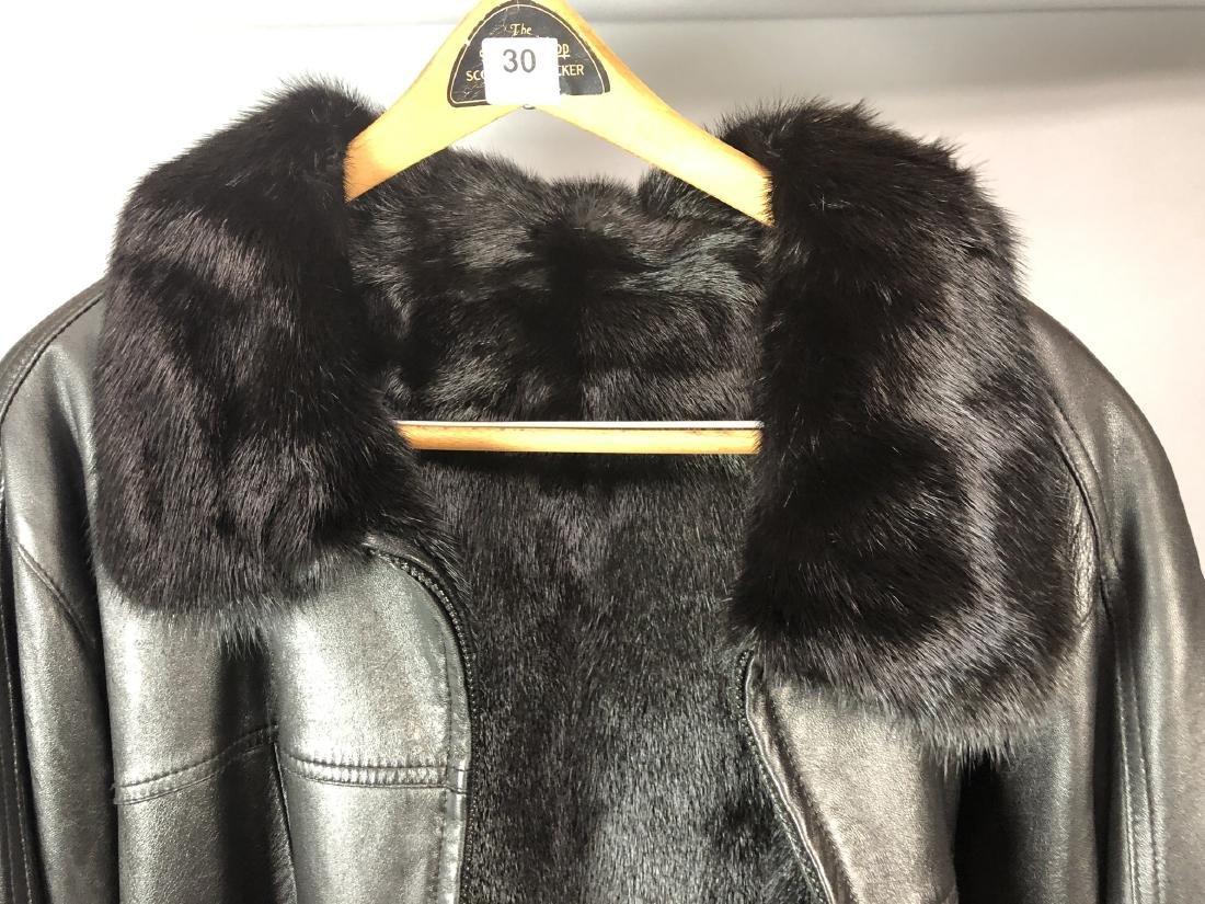 Black Leather Fur Reversible Mens Bomber Jacket. - 3