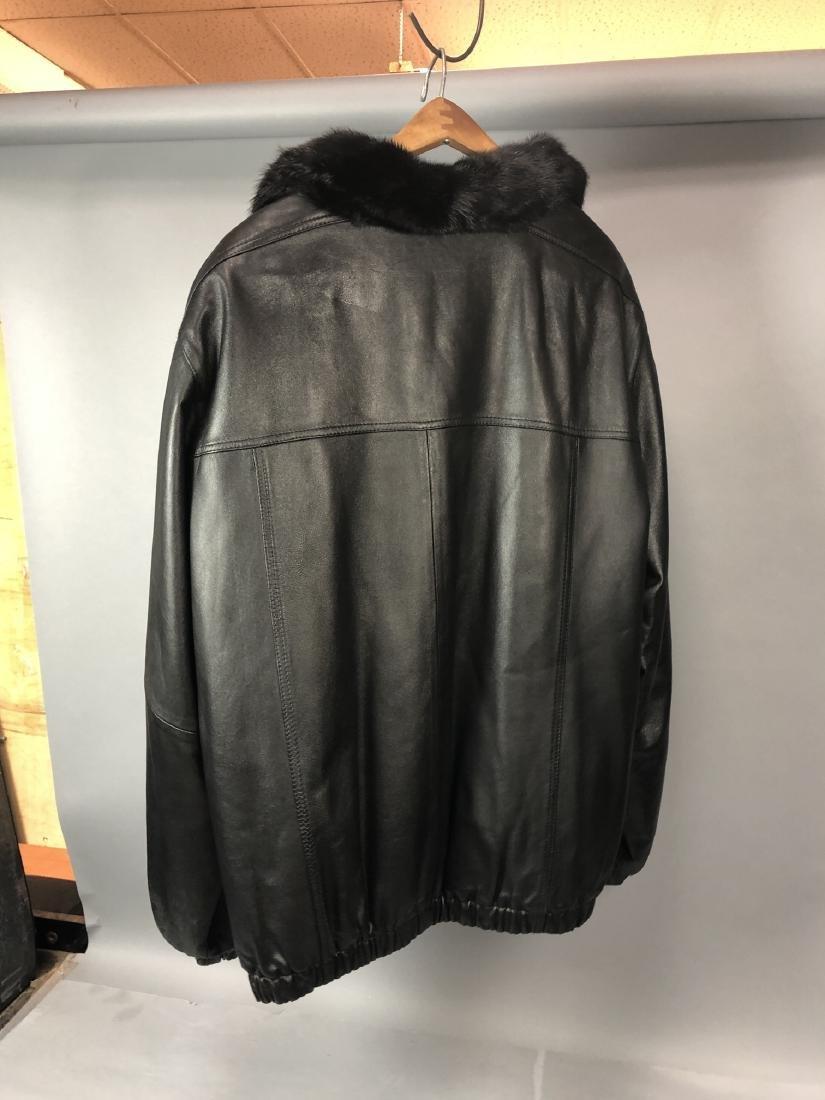 Black Leather Fur Reversible Mens Bomber Jacket. - 4