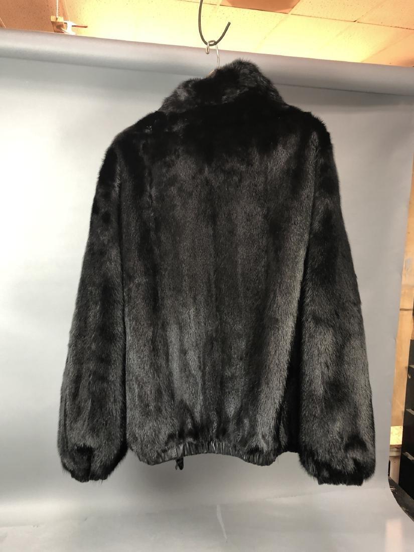 Black Leather Fur Reversible Mens Bomber Jacket. - 5