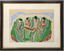 Modernist Abstract Figural Graphic Print. 4 black