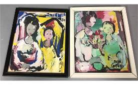 2pc BELLE GOLINKO Modernist Abstract Double Portr