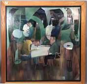 TOM WERNER Stylish Modern Abstract Figural Pntg.