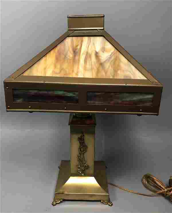 Vintage Brass Slag Glass Table Lamp. Square colum