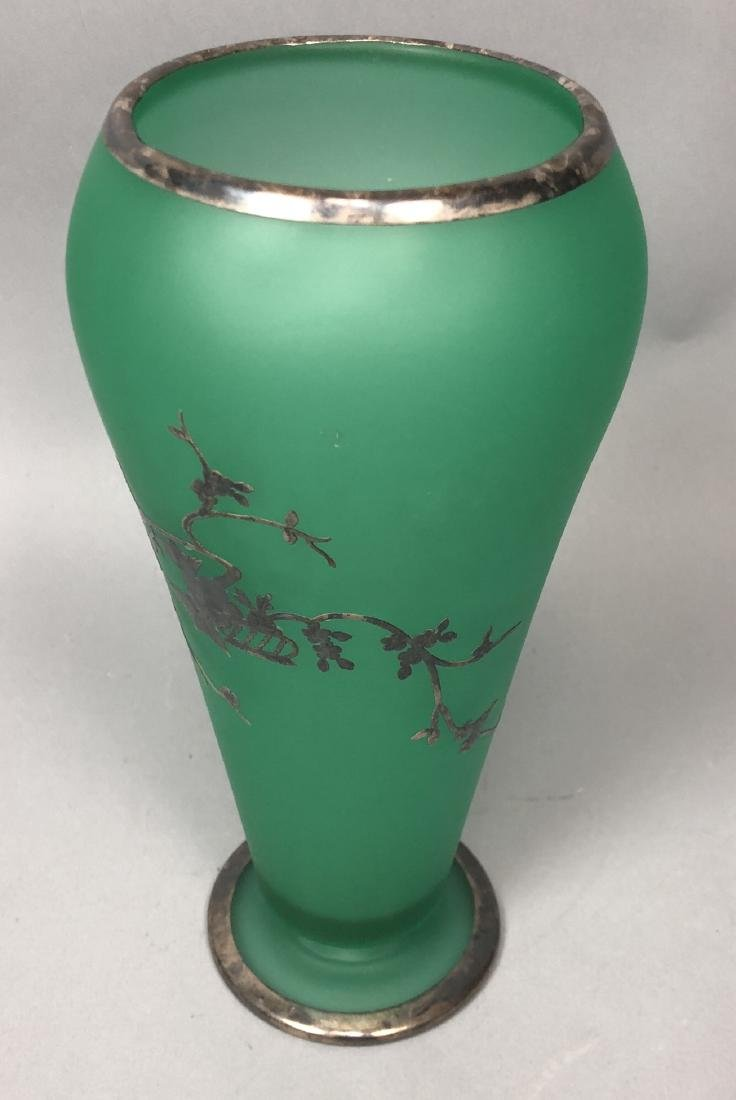 Frosted Green Glass Silver Overlay Vase. Satin fi