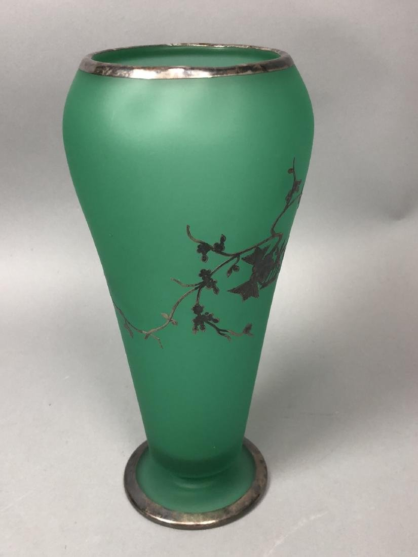 Frosted Green Glass Silver Overlay Vase. Satin fi - 5