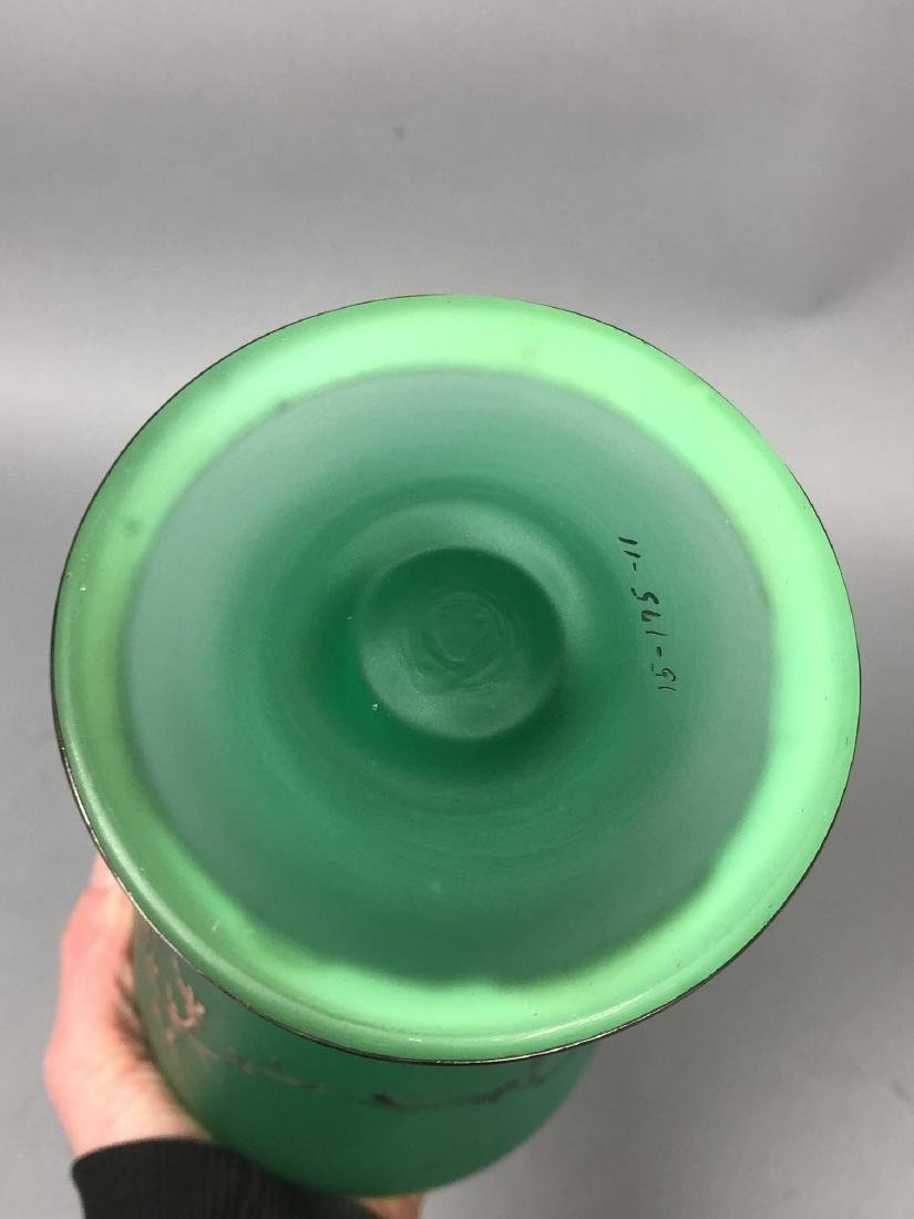 Frosted Green Glass Silver Overlay Vase. Satin fi - 7