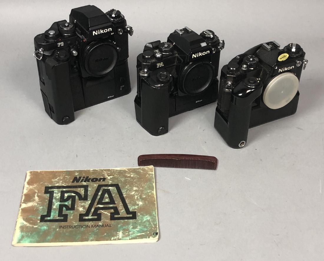 3pc NIKON 35mm Vintage Cameras. Lot includes FA,
