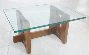 P WAXTER Glass Top Modernist Walnut Coffee Table.
