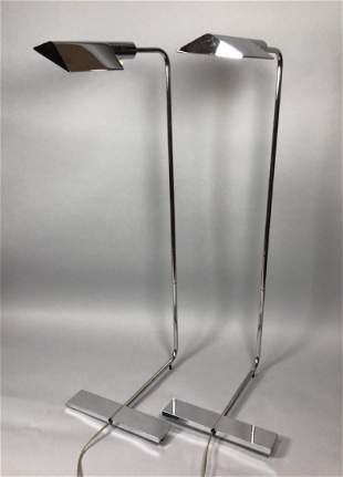 Pr Chrome CEDRIC HARTMAN Modernist Floor Lamps.
