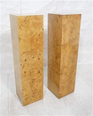 Pr Patchwork Burl Maple Tall Square Pedestals. Mo
